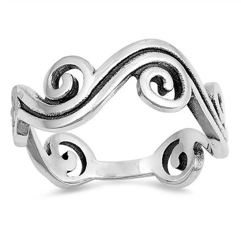 Wave Plain 925 Sterling Silver 7.5 mm Ring Size 4,5,6,7.8.9,10 » R319