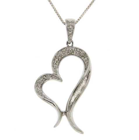 "¦925 Sterling Silver Natural Diamond Heart Pendant With 18"" Chain Necklace»P419"