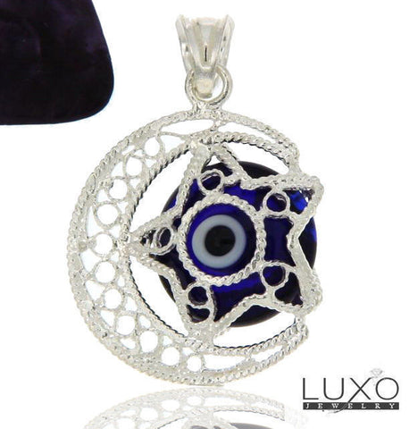 ▌Women's 925 Sterling Silver Crescent Star Eye Evil Dark Blue Pendant » P611