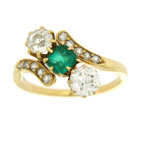 1.05 CT Old European Cut Diamonds & 0.50 Emerald in 18K Yellow Gold Ring