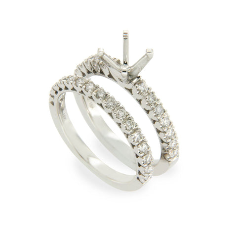 18K White Gold 0.62 CT Diamonds Semi Mount Engagement Ring Size 6 »N23