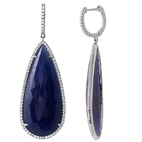 Rose Cut Sliced 49CT Blue Sapphire 1.0 CT Diamonds 14K Gold Drop Earrings »NP122