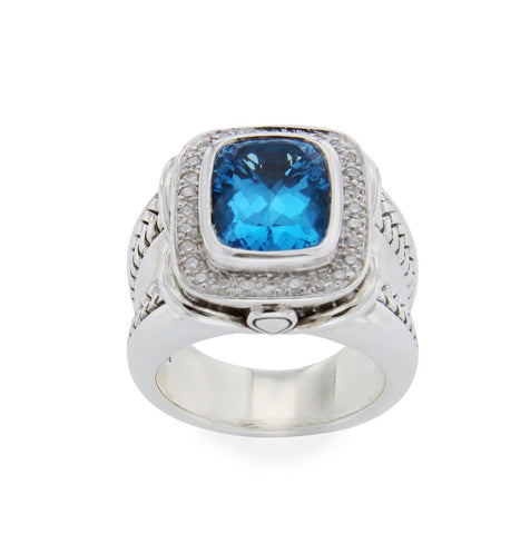 ▌Scott Kay 925 Sterling Silver Diamonds Blue Topaz Ladies Ring Size 6.5 »U412