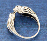 ▌925 Sterling Silver Kissing Love Bird Sparrows Size 4,5,6,7,8,9,10,11,12»R12/3