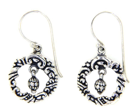 925 Sterling Silver Tow Side Art Bali Hoop Dangle Earring » E25