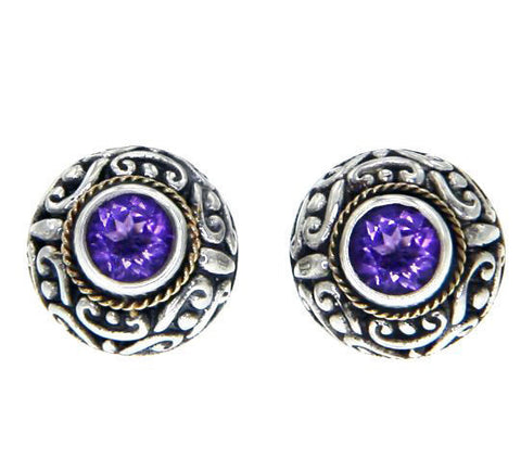 925 Sterling Silver 18k Gold Amethyst Scroll Swirl Bali Stud Earring » E214