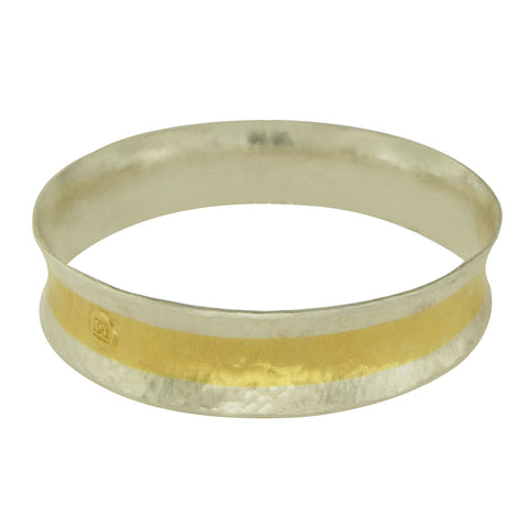 "GURHAN 925 Silver & 24k Gold Layered Stacking Hourglass Bangle Bracelet 8"" $2320"