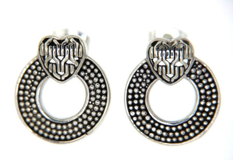 925 Sterling Silver Bali Gothic Heart Circle of Life Earring»E121