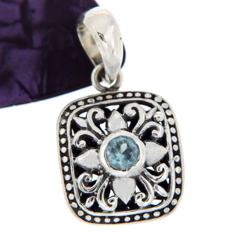 ¦Solid Sterling Silver Bali Cluster Cut-Out Blue Topaz Pendant » P410