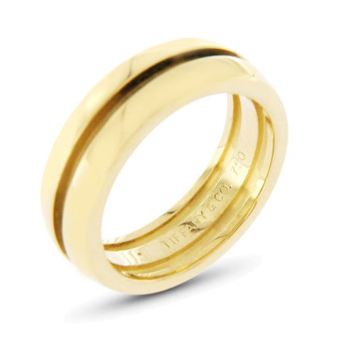 Auth Tiffany & Co. 18k Yellow Gold Grooved Dome Band Ring Size 6 »U423