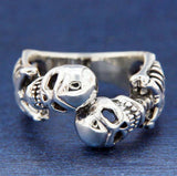 ▌Unisex 925 Sterling Silver Skeleton Skull Ring Size 7,8,9,10,11,12,13,14 »R105