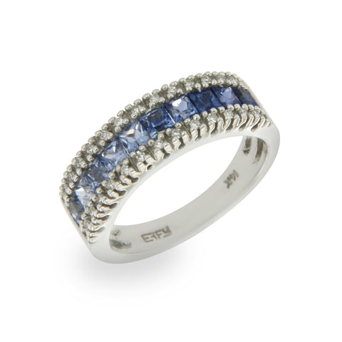 EFFY 14K White Gold Diamond & Rainbow Blue Sapphires Band Ring Size 6.75 »U410