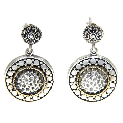925 Sterling Silver and 14 k Gold Round Bali Earring » E216