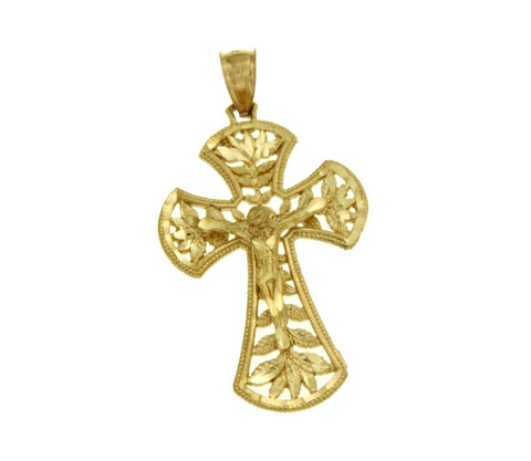 ¦Solid 14k Gold Jesus Crucifix 46 mm Height Halo Cross Pendant »G119