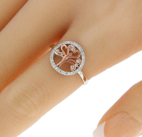 ▌925 Sterling Silver Tow Tone Wht CZ TREE OF LIFE Ring Size 4,5,6,7,8,9,10 » R91