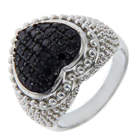 Solid Sterling Silver Black Diamond HEART Ring»R215