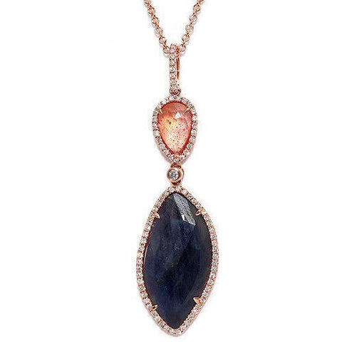 Sliced 9.68 CT Multi Sapphire & 0.48 CT Diamonds 14K Rose Gold Necklace Size 16""