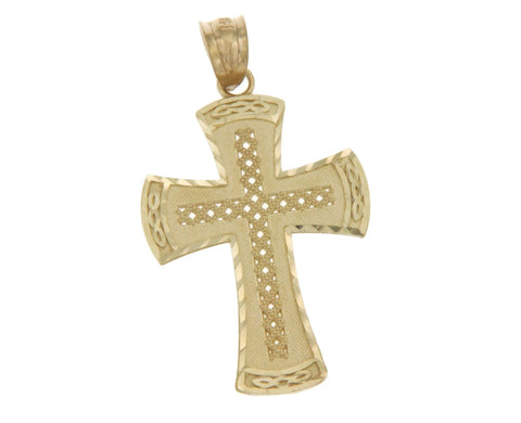 ¦Solid 14k Yellow Gold 32 mm Height Diamond Cut Cross Pendant »G117