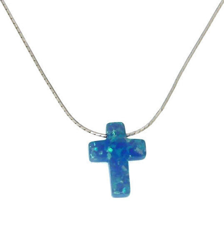 "▌Women's 925 Sterling Silver Opal Cross Necklace 16"" to 18"" »P518"