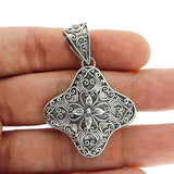 Beautiful Antique Design Solid Sterling Silver Flower Cluster Pendant»P314