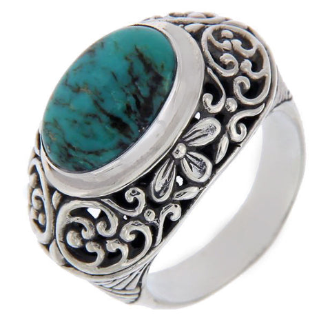 Solid Sterling Silver Turquoise Dome Cluster Ring » R120