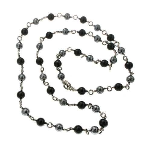 "Au David Yurman Tahitian Pearl & Black Onyx Bijoux Necklace  Size 39"" »B1"