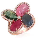 Four Leaf Rose Cut Multicolor Sapphires & Diamonds 14K rose Gold Ring Size 6.5