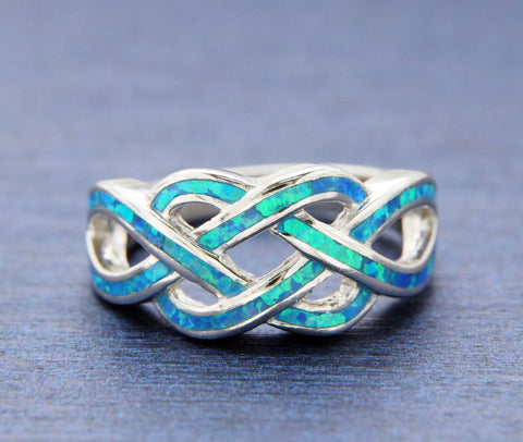 Women's 925 Sterling Silver Blue Opal Multi infinity Ring Size5,6,7,8,9,10»R133