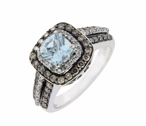 LeVian 14K Gold Chocolate & White Diamond Blue Topaz Engagement Ring S 6.75 »U34