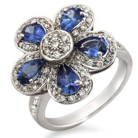 18K White Gold 0.50 CT Diamonds & 2.20 CT Blue Sapphire Flower Ring »BL117