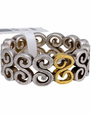 ¦Authentic GURHAN Silver Yellow Gold Vortex Eternity Ring Size 6.5 »$ 250