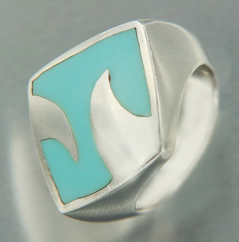 Solid Sterling Silver Turquoise Wave Ring»R114