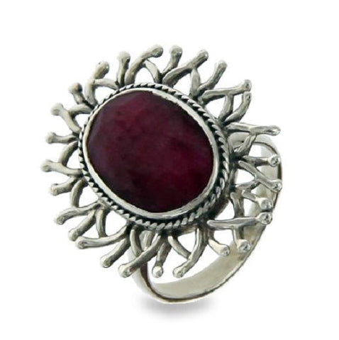 Solid Sterling Silver Handmade Ruby Flower Bali Ring»R314