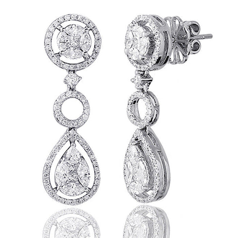 ▌18K White Gold 2.40 CT Marquise & Round invisible Set Diamonds Earrings »N112