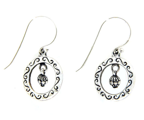 925 Sterling Silver Tow Side Bali Design hoop Dangle Earring»28
