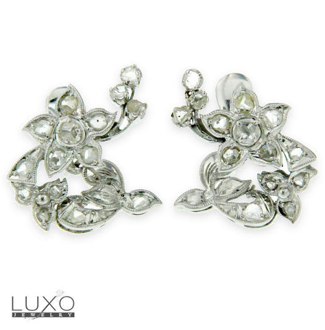 14K Solid Gold With Rough Diamonds Flower Cluster Earrings » GU124