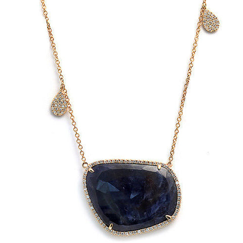 Rose Cut Sliced 30 CT Blue Sapphire 0.67 CT Diamonds 14K Yellow Gold Necklace
