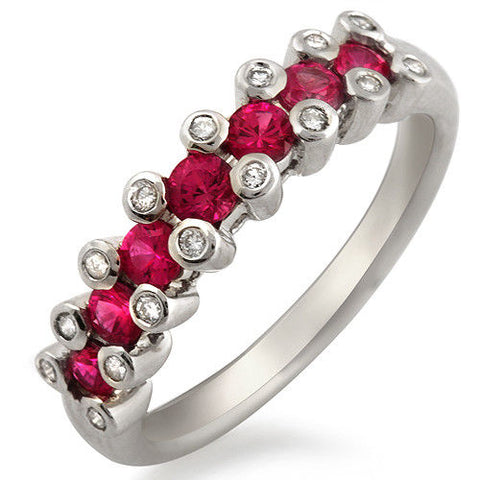18K White Gold 0.16 CT Diamonds & 0.86 CT Ruby Wedding Band Ring »BL112