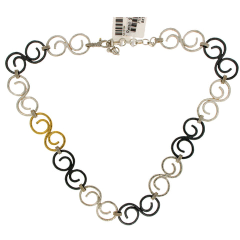 "Auth GURHAN 925 Sterling Silver & Gold Vortex Link Chain Necklace 17""-19""»$1960"