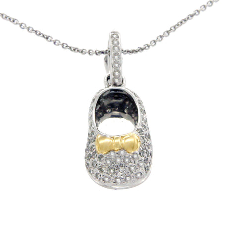 "0.35 CT Diamonds 18K Gold Shoe Pendant 14K Gold Chain Necklace Size 18"" »N121"