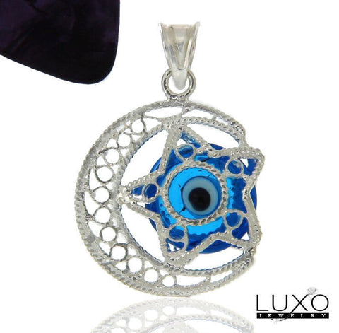 ¦Women's 925 Sterling Silver 3D Crescent Star Eye Evil Light Blue Pendant »P611