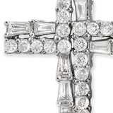 "18K White Gold 0.83 CT Round & Baguette Diamonds Cross Necklace Size 18"" »N18"