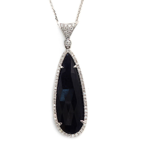 "Fancy 0.52 CT Diamonds 17.57 CT Rose Cut Blue Sapphire Necklace Size 16""»NP13"