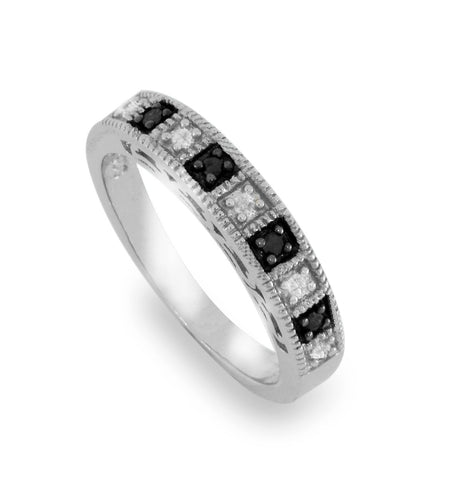 Solid Sterling Silver Black & White Diamond Band Ring » R220