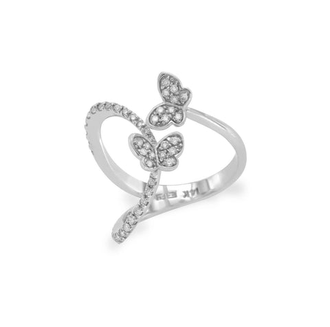 EFFY 14K White Gold Diamond Butterfly Ring Size 7.5 »U418