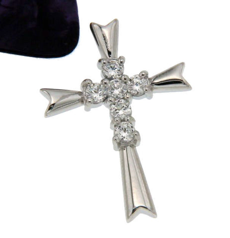 ¦Women's 925 Sterling Silver CZ CROSS Rhodium Plated Pendant »P52