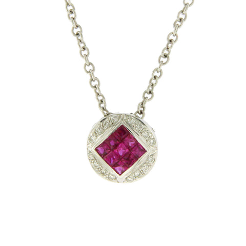 0.68 CT Natural Ruby & 0.10 CT Diamonds in 14K White Gold Round Necklace 16""