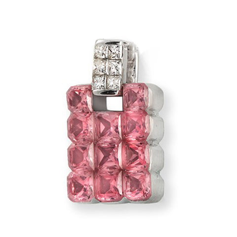 18K White Gold 0.25Ct Diamonds 3.95CT Invisible Set Pink Sapphire Pendant »BL116