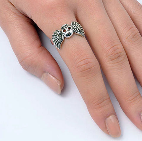 ▌Unisex 925 Sterling Silver Skull Winged Ring Size 5,6,7,8,9,10,11,12 » R12//4