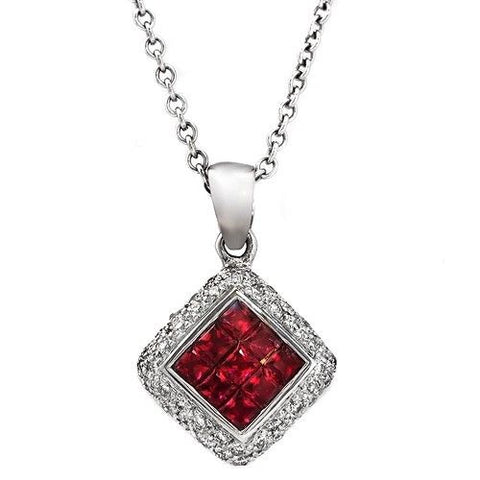 "14K White Gold 0.26 CT Diamonds 1.00 CT Invisible Set Ruby Necklace 16"" »BL18"